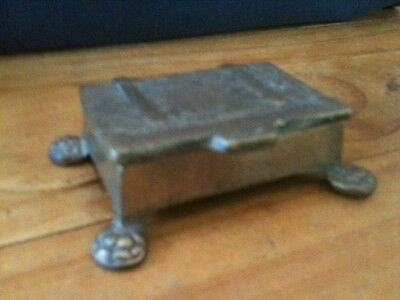 "VINTAGE BRONZE TREASURE CHEST RING BOX 2 1/2""x1 3/4""x3/4"" EXCL. FOOT EXTENSION"