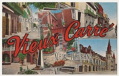 New Orleans Greetings from Vieux Carre (Old Square) Vintage Postcard