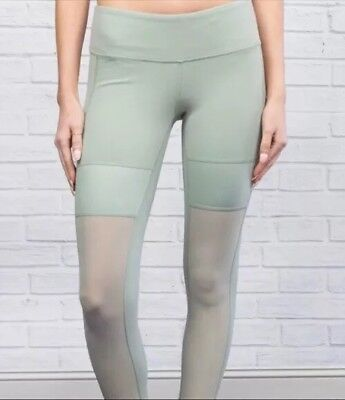 e7c0836621 $98 Alo Yoga Airbrush LEAN LEGGINGS-mesh panels-rare light Sea Mist green-