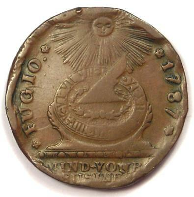 1787 Fugio Cent 1C Colonial Coin - VF Details (Rim Damage) - Rare Coin!