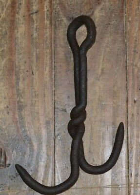 Old Hand Forged PrimitiveTwisted Double Hook Anchor Grappling Barn Blacksmith