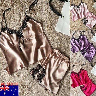 Women Satin Silk Lace Sleepwear Babydoll Lingerie Nightwear Shorts Pyjamas Set
