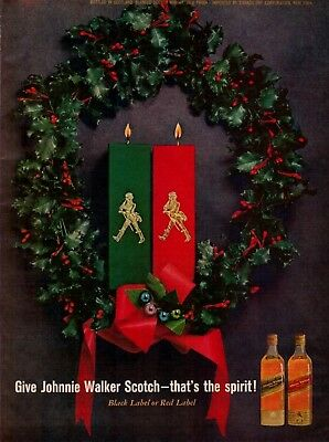 1961 Johnnie Walker Scotch Black/Red Label Candles Christmas Wreath Print Ad