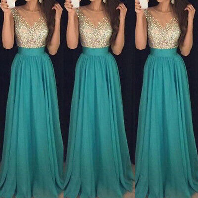 AU Women Long Lace Evening Formal Cocktail Party Gown Prom Bridesmaid Maxi Dress