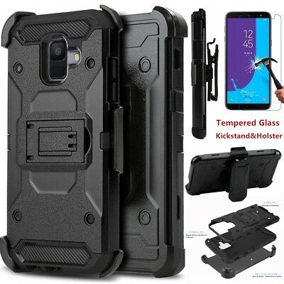 For Samsung Galaxy A6 2018 Shockproof 360° Kickstand Holster Case+Tempered Glass