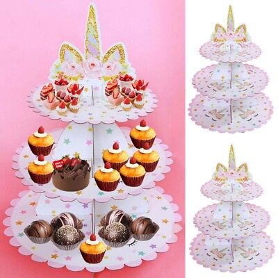 Unicorn Dessert Three-Layer Fruit Cupcake Gifts Tower Stand Party Supplies Good