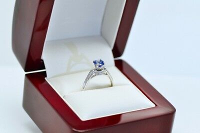 GenuineTanzanite and  Diamond Wedding Engagement Ring 14K Solid White Gold