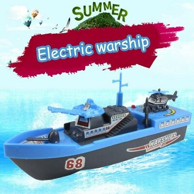 1* Blue Electric Warship Water Bath Toys Blue Ship Boat Educational for Baby