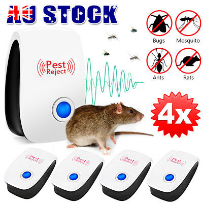 4X Ultrasonic Electronic Pest Mouse Cockroach Repeller Reject Insect Killer AU