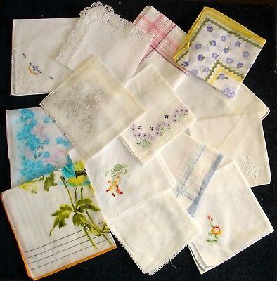 Job Lot 14 Cotton Ladies Handkerchiefs Assorted Lace Embroidered Printed