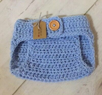 Handmade Crocheted Adjustable Waist Baby Nappy Cover 0-3 Months. Baby Blue
