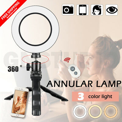 Mini Dimmable LED Ring Light Selfie Dimming Lighting With Stand Remote Shutter
