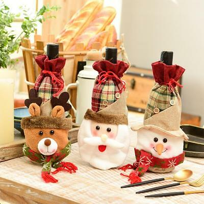 Christmas Wine Bottle Cover Embroideried Bag Xmas Party Dinner Table Decoration