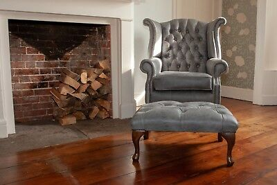 Chesterfield Queen Anne High Back Wing Chair & Footstool Vintage Grey Leather