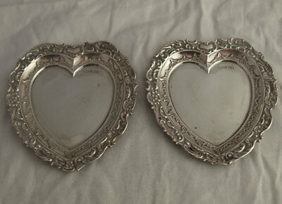 Charming Pair Of Edwardian Solid Silver Heart Shaped Dishes - Sheff. 1902