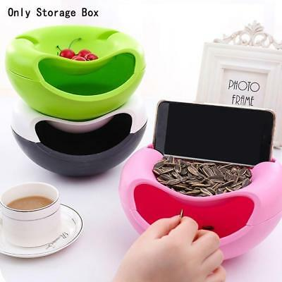 Double Layer Snack Fruit Seeds Bowl Plate Dish Phone Holder For Home TV Relax