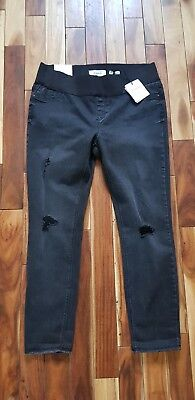 Ladies Size 12 Maternity Ripped Washed Black Skinny Jenna Jeans By New Look...