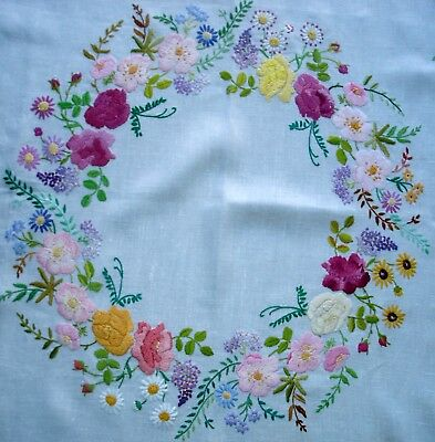 Vintage Compactly Hand Embroidered Circle of Garden Flowers Linen Tablecloth