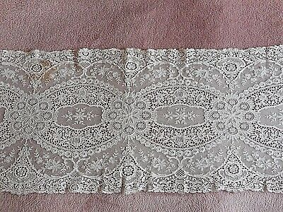 Antique white tulle lace runner.