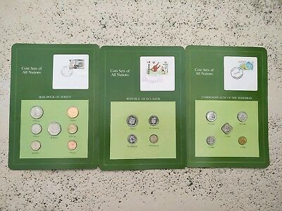 3 Sets Coins Of All Nations Ecuador,rep of jersey, Bahamas
