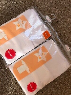 Mothercare Boys Thermal Long Sleeved White Vests Bundle 18-24 M Winter Layers