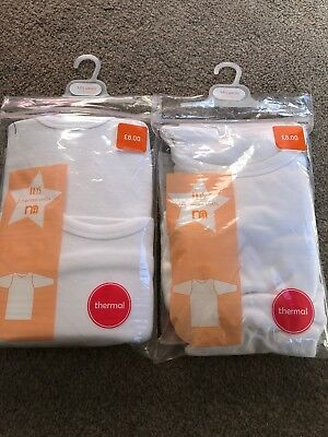 Mothercare Boys Thermal Long Sleeved White Vests Bundle 12-18 M Winter Layers