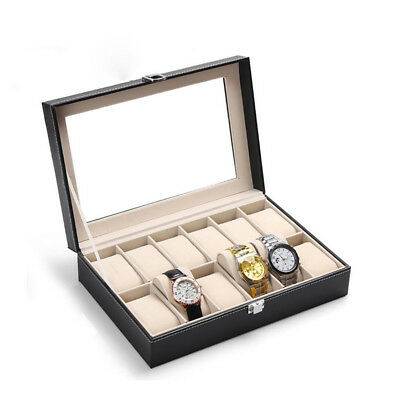 12 Grids Watch Jewelry Storage Holder Box Watches Sunglasses Display Gift AU
