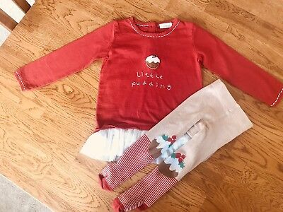 Girls Christmas Top & Tights - Next - 12-18 Months