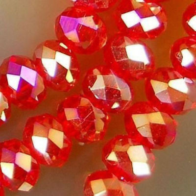 Wholesale! 4*6mm 188pc Red AB Crystal Faceted Abacus Loose Bead