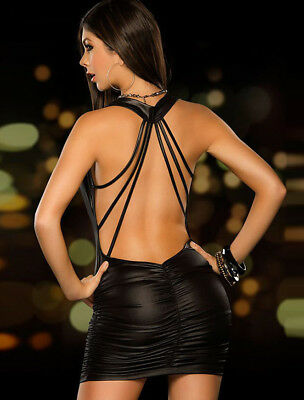R70140 Mini Abito WetLook Nero Increspato Davanti Schiena Nuda Stringato Dietro