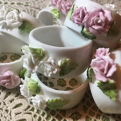 Pretty Set Of 8 Vintage Porcelain Napkin Rings Pink White Roses