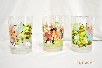 Shrek the Third McDonald's Collector's Glass Cups x3 2007 Puss N Boots