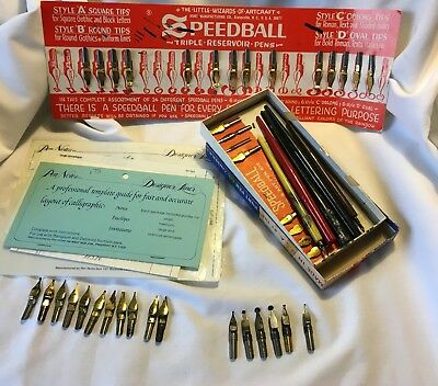 Calligraphy Lot Dip Pens Nibs Templates Speedball Hunts Resterbrook