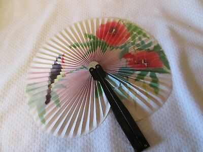 Vintage  Paper and Metal Handle Folding Hand Fan FLORAL BIRDS