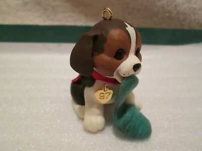 Hallmark Ornament Puppy Love #7 In Series 1997 Artist Signed  NO BOX