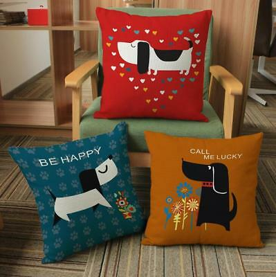 18'' Cotton Linen Cartoon Dog Pillow Case Cushion Cover Sofa Home Car Decor