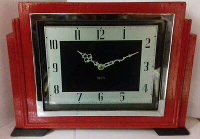 VINTAGE Smiths Mantel Clock Wooden Red Black Retro Modern RECONDITIONED QUARTZ