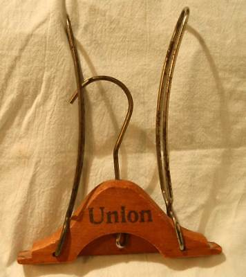 "Vintage Metal & Wood Folding Union Travel Clothes Hanger 18"" long great display"