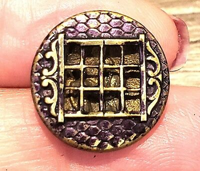 Small 3-D Antique Metal Picture Button…2 Figures Behind Window