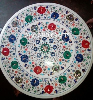 2' Marble center coffee Dining Table Top Inlay Mosaic Malachite corner console