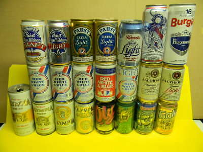 23 Diff. Pabst Blue Ribbon Beer Cans Olympia Jacob Best Red White & Blue Wisc.
