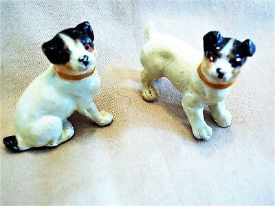Pair Of Sweet Composition Jack Russel Terrier Dogs,  Dollhouse Size, Germany
