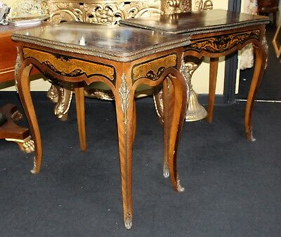 Pair of Heavily Inlaid Victorian Card Tables