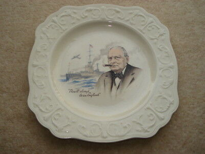Cww2 Vintage Winston Churchill There'll Always Be An England China Plate