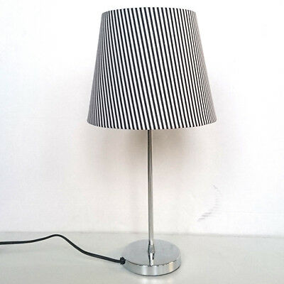 Chrome Round Base Table Lamp Striped Shade Black & White Clearance Litecraft