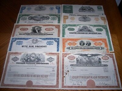 Lot of 10 Different Stock Certificates Railroad Auto Ship T4