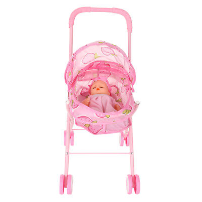 Baby Kid Doll Stroller Carriage Foldable Doll 12inch Mini Stroller Toy Gift Q3I9