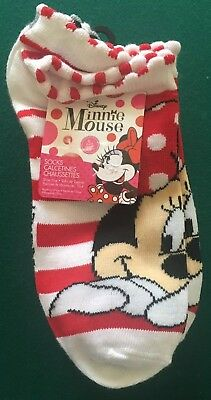 Disney Minnie Mouse Girls  Youth Socks 6 Pairs  Shoe Size 10.5 - 4 New