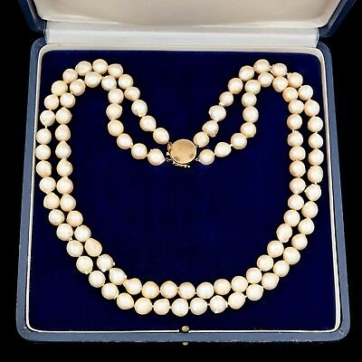 Antique Vintage Art Deco 14k Gold 2 Strand Saltwater South Sea Pearl Necklace