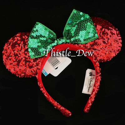 Disney Parks MINNIE CHRISTMAS EARS Red SEQUIN Headband HOLIDAY Exclusive GREEN